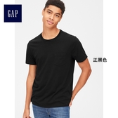 Gap男裝 休閒直筒圓領短袖口袋T恤 440850-正黑色