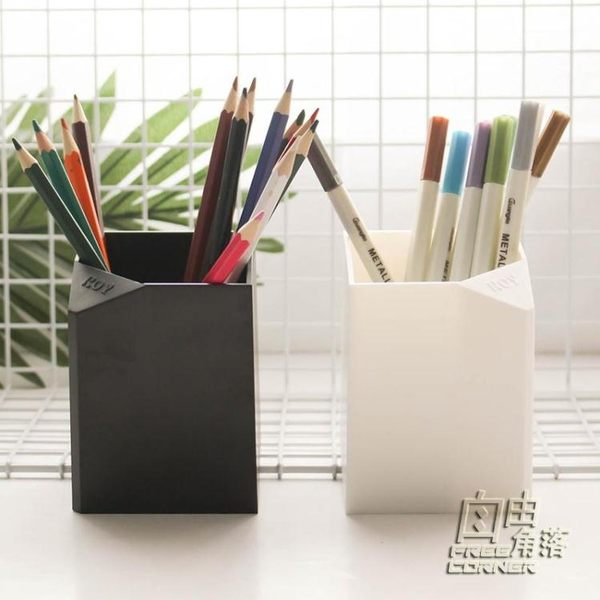 日系簡約多功能筆筒黑白系列無印風學生筆筒桌面文具收納盒辦公用 自由角落