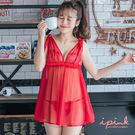 i PINK 唯美嫁紗 網紗綁帶連身裙睡衣(紅)