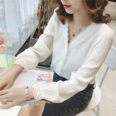韓范V領蕾絲白色長袖襯衫上衣女裝chic寬鬆休閒襯衣 伊衫風尚