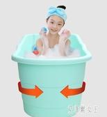 嬰兒洗澡盆大號寶寶沐浴桶新生兒童洗澡桶小孩泡澡桶浴盆家用可坐 yu6102【艾菲爾女王】