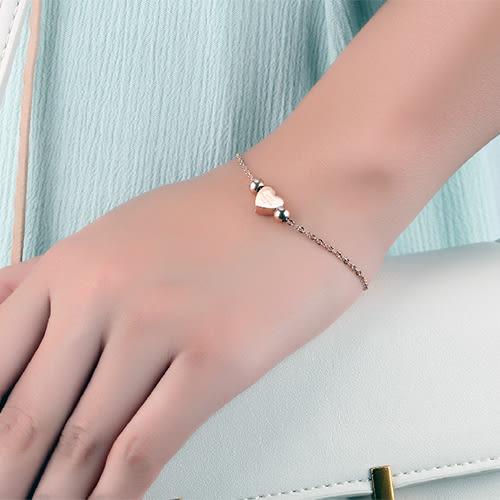 《 QBOX 》FASHION 飾品【W10000821】 精緻秀氣愛心永恆的愛玫瑰金316L鈦鋼手鍊/手環(玫瑰金/銀)