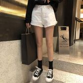 韓版簡約百搭毛邊闊腿熱褲女高腰寬鬆顯瘦牛仔短褲潮    琉璃美衣