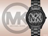 【時間道】MICHAEL KORS 閃亮星光MK LOGO錶面時尚腕錶/黑面黑鋼(MK3589)免運費