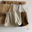 大容量慵懶風手拎側背包環保購物袋文藝女帆布包【橘社小鎮】