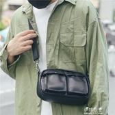 男士復古腰包時尚PU皮胸包斜背包休閒包小斜背手機韓版單肩包男包 伊莎公主
