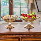 現代歐式擺件玻璃水果盤奢華歐式水晶家用現代客廳茶幾果盤雙層糖果盤創意擺件 洛麗雜貨鋪