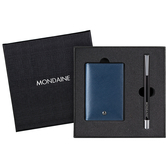 MONDAINE 瑞士國鐵牛皮名片夾(十字紋藍)+多功能磁性筆禮盒組