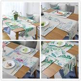 印花美式鄉村桌旗ins北歐風棉麻桌旗簡約現代桌布桌巾餐墊