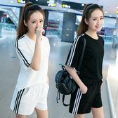 夏季女短袖套裝運動短褲休閒兩件套顯瘦日韓學生寬鬆跑步夏天女裝【元氣少女】