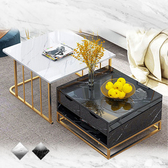 【Incare】仿大理石風鋼製茶几桌組(2色任選)A款黑色+B款黑色