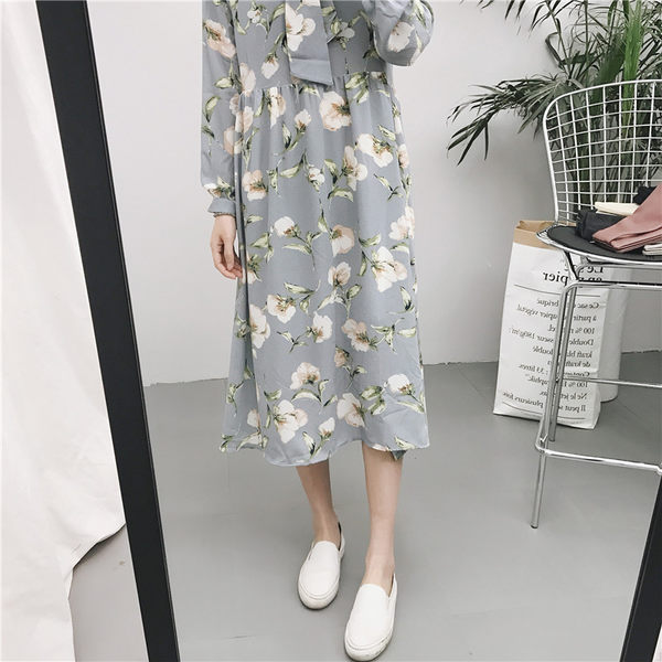 (全館一件免運費)DE SHOP~(AS-8616)花朵印花繫帶立領雪紡裙韓版中長款寬鬆連衣裙子
