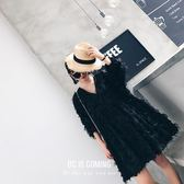 V領雪紡連身裙女2018春新款寬鬆顯瘦大碼超仙羽毛度假裙沙灘裙潮  巴黎街頭