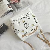 夏季2017新款鏤空水桶復古刺繡單肩鏈條休閒斜挎包 zy319 【野之旅】