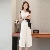 大韓訂製小香風套裝V領雪紡上衣褲裝兩件套七分褲