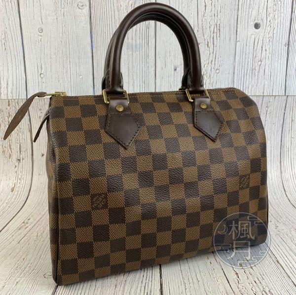 BRAND楓月 LOUIS VUITTON LV 路易威登 N41532 咖啡色棋盤格SPEEDY25 舊版 手提包