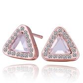 耳環 純銀鍍18K金 水晶-三角鑲鑽生日情人節禮物女飾品73cg277【時尚巴黎】