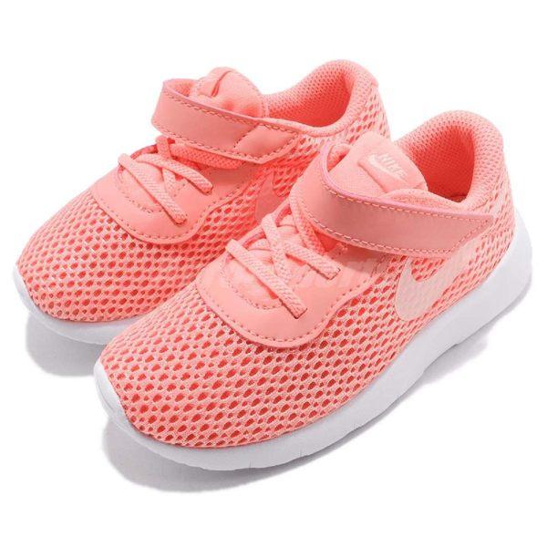 Nike 休閒鞋 Tanjun TDV 粉紅 白 免綁鞋帶 運動鞋 魔鬼氈 童鞋 小童鞋【PUMP306】 818386-602