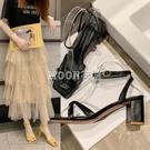 涼鞋仙女風2021新款時尚夏季粗跟一字帶高跟鞋ins百搭女鞋潮 快速出貨