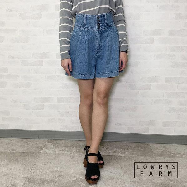 LOWRYS FARM素色類丹寧腰鬆緊高腰多鈕扣短褲裙-二色