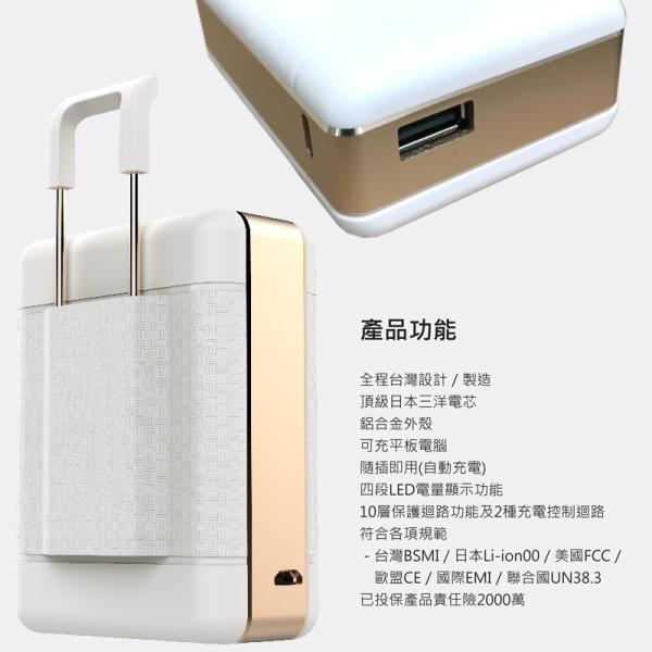 POLYBATT 三洋電芯 行李箱造型款 7900mAh 行動電源(可當手機支架)
