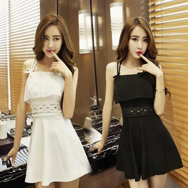 裝正韓夜店連身裙性感露背修身女裝吊帶荷葉邊禮服短裙洋裝