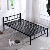 單層鐵床員工宿舍床鐵藝床1.2米1.5米成人雙人公寓床單人鐵架床 qz4998【甜心小妮童裝】