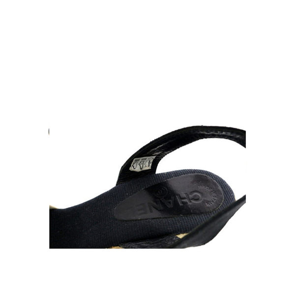 【CHANEL】布面山茶花 楔行底鞋 39號(黑色) CH51060024