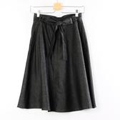 【MASTINA】排釦綁帶A字裙-黑  秋裝限定嚴選