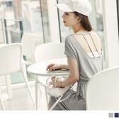 OB嚴選《DA4694-》素色美背造型抽腰綁帶連袖中長洋裝.2色