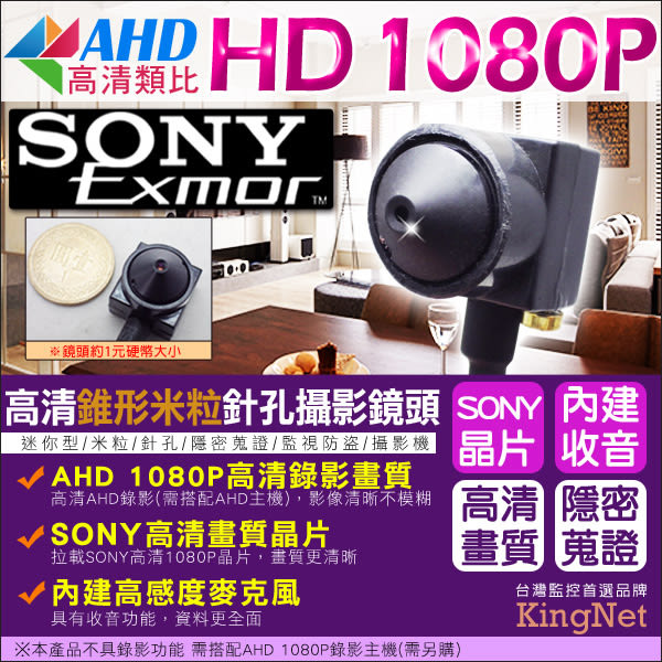 監視器 SONY晶片 AHD 1080P 米粒型針孔攝影鏡頭 監看外傭 好隱藏 內建麥克風 鏡頭 針孔 蒐證 DVR