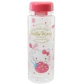 小禮堂 Hello Kitty 透明水瓶 500ml (粉草莓款) 4548626-14160