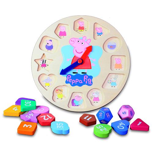 【鯊玩具Toy Shark】粉紅豬小妹 木頭時鐘遊戲組