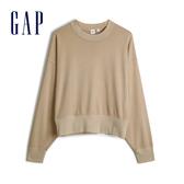 Gap女裝 棉質落肩袖休閒上衣 544873-駝色