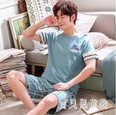 男士睡衣 夏季棉質短袖韓版全棉薄款青年學生休閒套裝 BT5005『寶貝兒童裝』