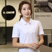 polo衫短袖 efdpolo衫女短袖寬松大碼短款學生韓版運動上衣翻領T恤定制印logo 曼慕衣櫃
