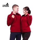 情侶款立領蓄熱半襟拉鍊超細纖維雙刷雙搖中層保暖刷毛口袋衣(DML1803 男女款 紅色)【戶外趣】