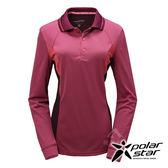 PolarStar 女 竹炭吸排長袖POLO衫『桃紅』P17216 機能衣│刷毛衣排汗│透氣│輕量