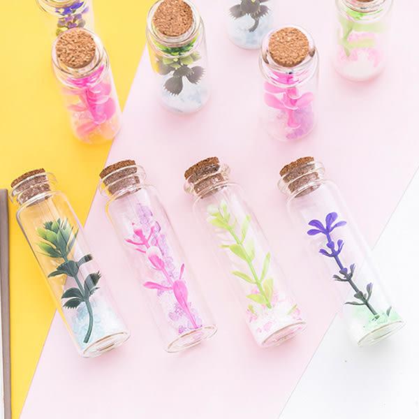 【BlueCat】迷你不枯植物薰衣草軟木塞幸運瓶 玻璃瓶 許願瓶 漂流瓶