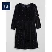 Gap女童圓領長袖套頭洋裝497499-海軍藍色