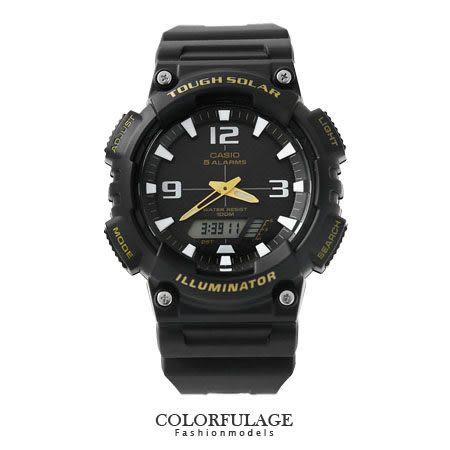 CASIO日本卡西歐太陽能手錶 路跑運動全黑雙顯腕錶 有保固優質店家 柒彩年代【NE1151】原廠公司貨