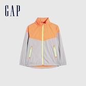 Gap男童 活力撞色休閒防雨外套 682056-橙色拼接
