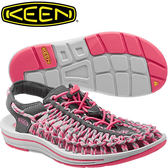 KEEN 1014629深灰/粉紅 女Uneek專業戶外護趾編織涼鞋/水陸兩用鞋