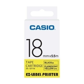 CASIO 標籤機專用螢光色色帶-18mm【螢光黃底黑字XR-18FYW】