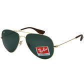 台灣原廠公司貨-【Ray-Ban 雷朋】RB3558-001/71新款超輕雷朋太陽眼鏡(金框/綠鏡面)