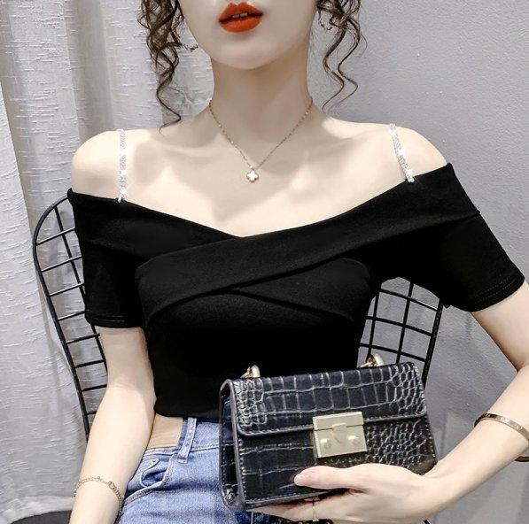 上衣T恤一字肩S-XL淑女韓系設計感洋氣小衫時尚露肩雪紡衫斜肩.T327.235胖胖唯依