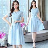 洋裝 輕熟風 淑女裙 連身裙夏長款氣質顯瘦遮肚小清新夏季純棉裙子女裝T105依佳衣