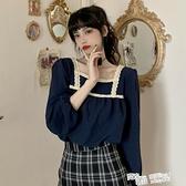 秋季2021新款寬鬆方領法式長袖襯衫女設計感小眾襯衣氣質秋裝上衣 喜迎新春