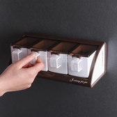 廚房調料盒四格一體組合套裝家用壁掛式放味精作料瓶鹽糖調料罐子 陽光好物
