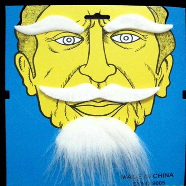 【塔克】白眉 白鬍子 (組合) 白眉鷹王 白色眉毛裝扮 萬聖節/派對/服裝/角色扮演/變裝